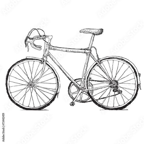 Vintage road bicycle hand drawn illustration - 73442419