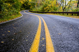 Fototapety Wet Road in Mountains in Fall