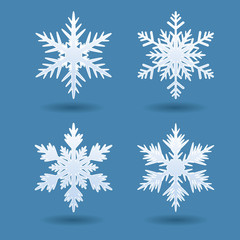 Set of vector geometric snowflakes