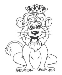 black and white Lion With Crown Cartoon Illustration