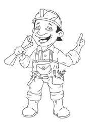 black and white construction worker