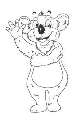 black and white Koala Cartoon