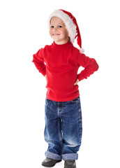 Smiling boy in Christmas hat