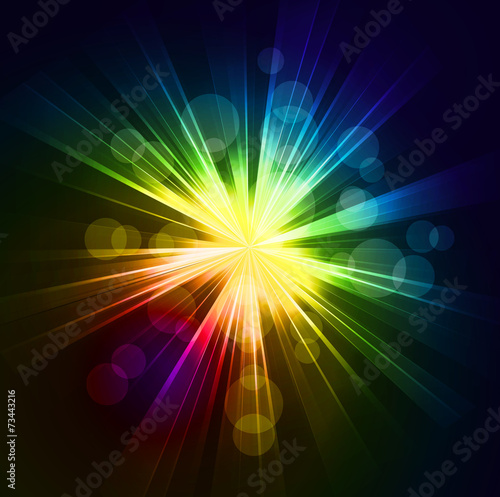 Poster Licht, schaduw Abstract starburst light background