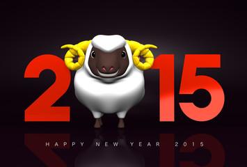 Smile White Sheep, 2015, Greeting On Black