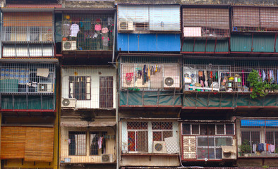 Apartments of low-income people in Hanoi, Vietnam.