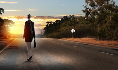 Businesswoman on road