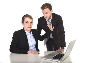 businesswoman suffering sexual harassment at office work