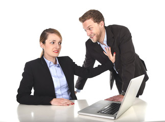 boss abusing employee in work sexual harassment concept