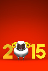 Smile White Sheep, 2015 On Red Text Space