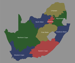 Highly detailed political South Africa map