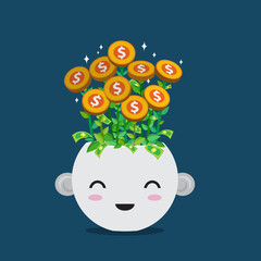 Lightbulb plant in smiley pot