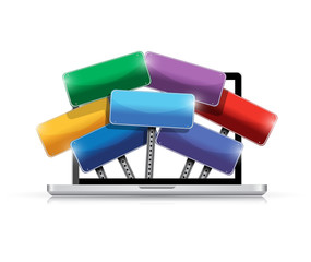 laptop and color signs illustration design