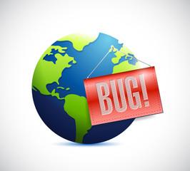 globe and bug sign. illustration design