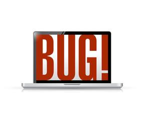 bug message on a laptop illustration