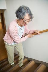 手すりに掴まって階段を上るシニア女性
