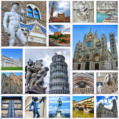 Collage of travel images from Italy