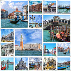 Collage of landmarks in Venice, Italy.