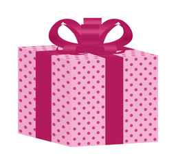 Pink Dotted Gift Box with Pink Ribbon