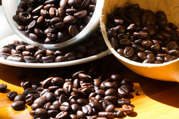 close up of coffee beans with the sun light effect from the left
