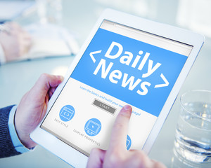 Digital Online Daily News Office Working Concept