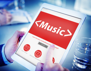 Digital Online Music Arts Office Working Concept