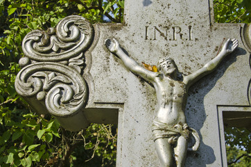 Crucifixion, Jesus Christ on cross in cemetery