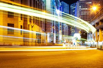 blur motion traffic trail  in modern city