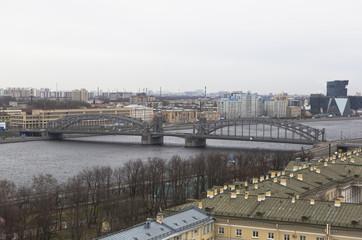 Санкт-Петербург. Вид на Большеохтинский мост с Смольного собора