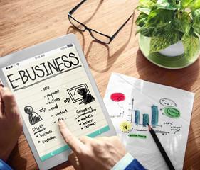 Digital Online E-business Marketing Working Concept