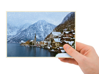Mountains ski resort Hallstatt Austria photography in hand