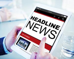 Headline News Top Stories Online Concept