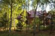 canvas print picture - Hausbau im Wald