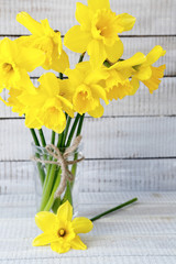 colorful daffodils in a vase