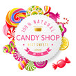Candy shop label with type design - 73451294