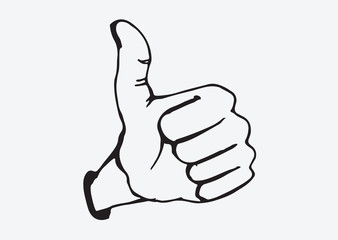 Thumbs Up symbol hand drawn