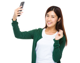 Woman take selfie
