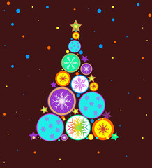 Christmas vector background with Christmas tree