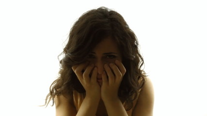 Vintage girl silhouette upset sad MS CC