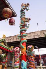 Dragon at a joss house in Bangkok of Thailand