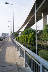 Lampposts and a concrete bridge in Bangkok of Thailand