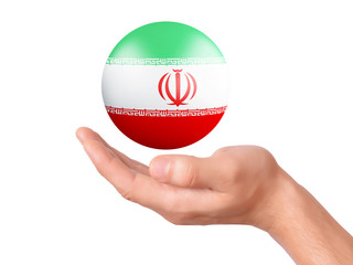 hand hold Iran flag icon on white bakground