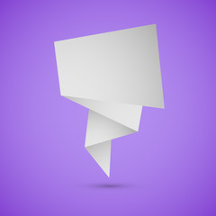 Abstract origami speech background on violet background