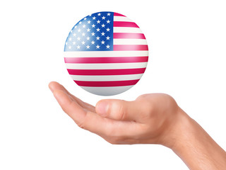 hand hold United States flag icon on white bakground