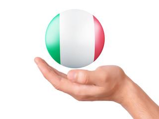 hand hold Italy flag icon on white bakground
