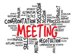 Meeting business concept, words cloud, presentation background