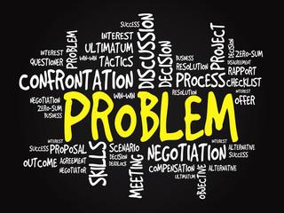 Problem business concept, words cloud, presentation background