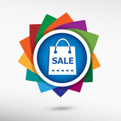 Sale shopping bag. Flat design style