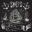 Ship chalkboard poster - 73452833