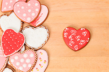 heart cookies on a wood